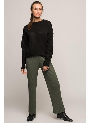 Cottonmood 9360793 Kalın Fitilli Beli Lastikli Uzun Pantolon Gri Haki